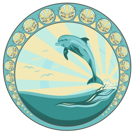 sea mammal: dolphin jumping among ocean waves - round vector label Illustration