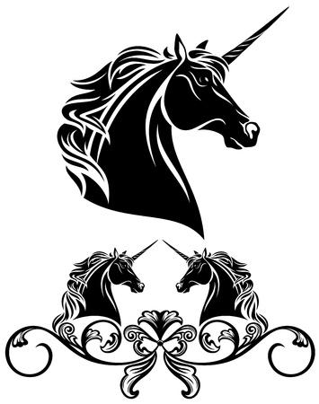 fine unicorn head decorative element - black and white vector illustration