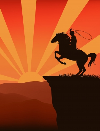lasso: cowboy on top of mountain at sunset  - silhouette against sky with sun rays