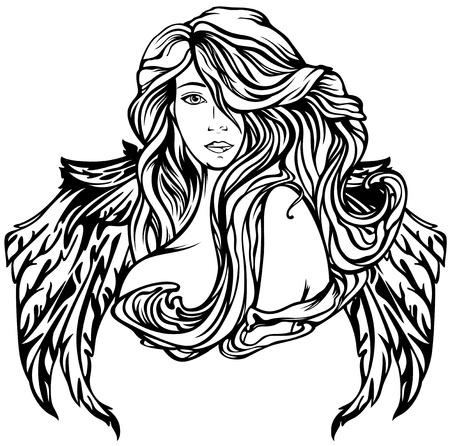 Jugendstil Engel Vektor-Illustration - schwarz und weiß geflügelte Frau Umriss