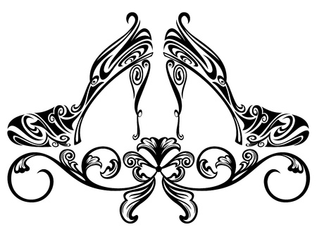 high heels: ornate shoes design element - black and white floral swirls vector illustration