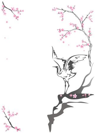 sakura flowers: crane standing on a cliff among blooming springtime trees - seasonal background with place for your text