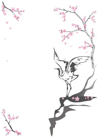 Kran steht auf einer Klippe unter blühenden Frühling Bäume - saisonalen Hintergrund mit Platz für Ihren Text