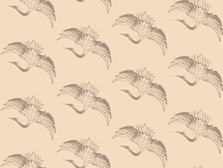 japanese cranes vector seamless background - elegant beige wingspread birds Vector