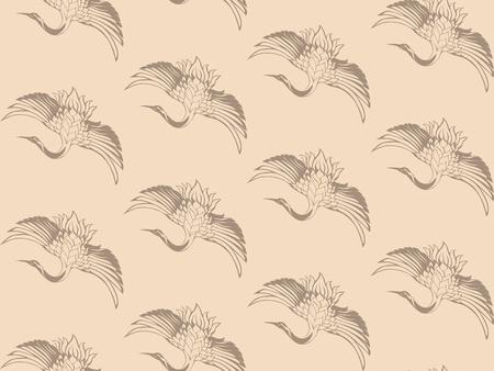 wingspread: japanese cranes vector seamless background - elegant beige wingspread birds Illustration