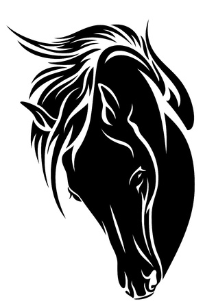 black horse head design - dark outline over white