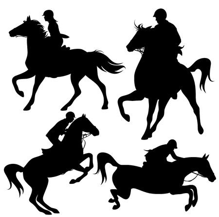 Siluetas de los jinetes a caballo fina - jockeys negros esquemas detallados sobre blanco (los caballos no se fusionan con los jinetes y puede ser fácilmente editado) Ilustración de vector