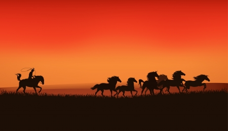 rebellion: wild west prairie landscape - cowboy chasing the herd of wild horses at the sunset - vector illustration Illustration
