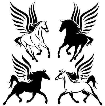 en blanco y negro diseño del Pegasus - set vector alado caballo Ilustración de vector