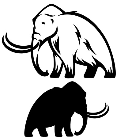 mammoth vector illustration - prehistoric elephant black and white outline and silhouette Illustration