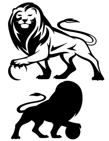 lions: le�n sosteniendo una pelota - ilustraci�n vectorial - silueta en blanco y negro y la silueta