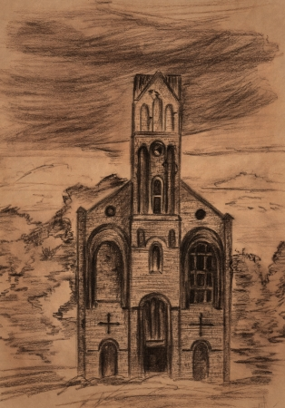 drawing trees: Ruins of old Lutheran kirk in Kaliningrad region, Russia - sepia toned pencil drawing Stock Photo