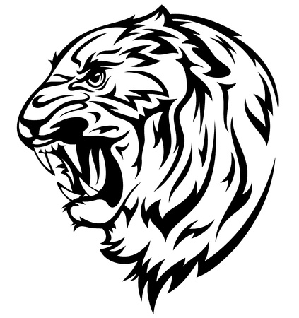 furious tiger illustration - realistic black and white outline of animal head Vector