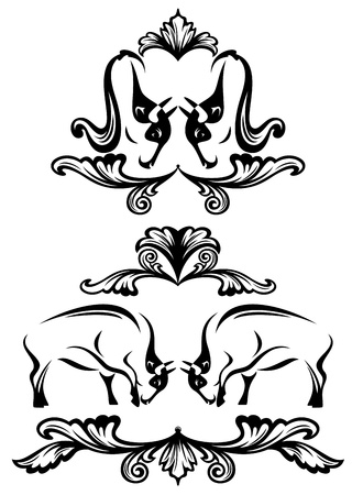 fighting bulls: fighting bulls design elements - black and white outlines and floral swirls Illustration