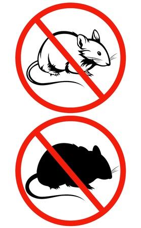 interdiction: aucun signe rongeurs - cercle rouge barré avec un contour rat Illustration