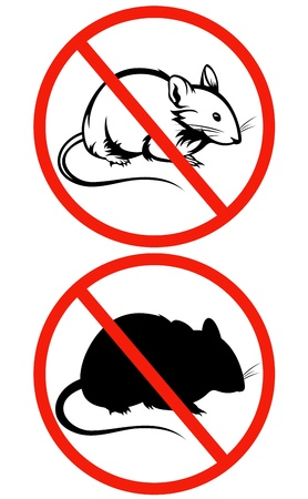 no rodents sign - crossed red circle with rat outline Vector