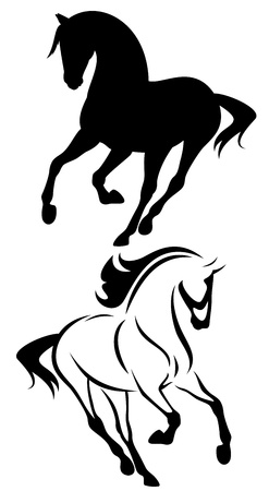 horse running: beautiful running horse vector outline and silhouette - black and white illustration
