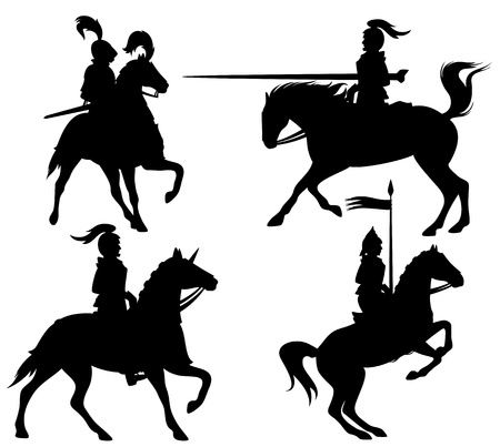 knight horse: knights and horses fine vector silhouettes - black outlines over white