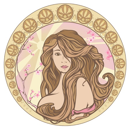 spring time Art Nouveau style pastel shades portrait - beautiful woman with long hair Vector