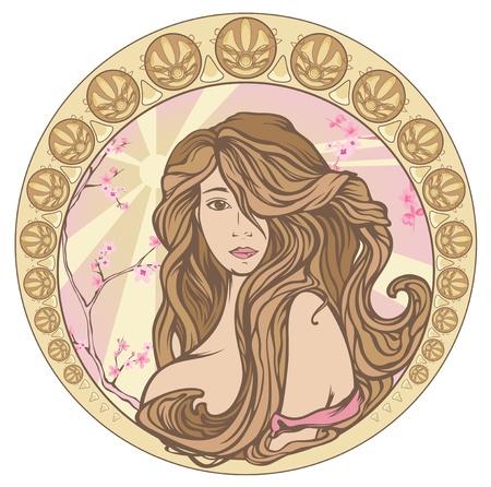 art nouveau: tempo di primavera in stile Art Nouveau tonalit� pastello ritratto - bella donna con i capelli lunghi