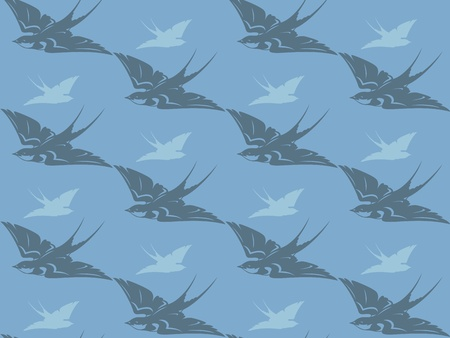 passerine: flying swallows seamless background - cute birds in shades of grey and blue