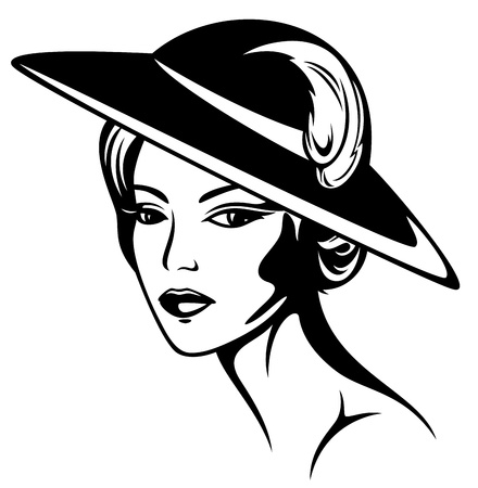 large woman: beautiful woman wearing vintage hat - black and white illustration Illustration