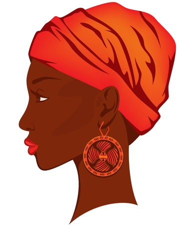 beautiful african woman with earring - bright portrait of african american beauty Vector