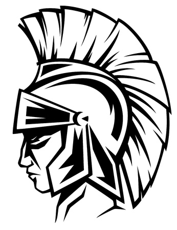 ancient warrior: spartan warrior black and white vector profile - ancient soldier wearing a helmet