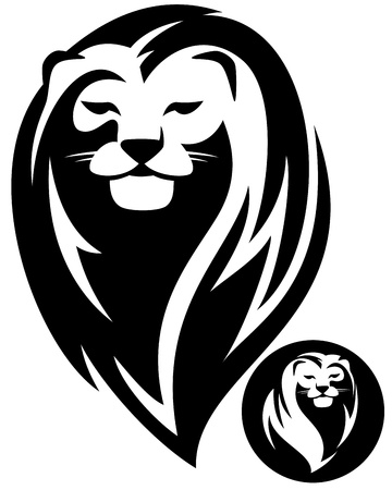 black and white lion head vector design - stylized monochrome outline Vector