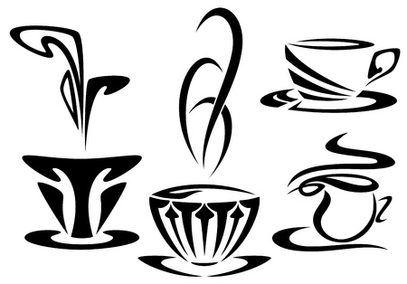 cup: art nouveau style cups set - black and white vector outline collection