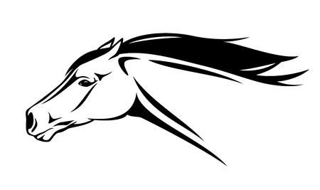 cabeza de caballo: corriendo la pista de caballo ilustraci�n vectorial - contorno realista en blanco y negro Vectores