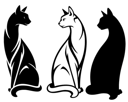 cute cat: elegant sitting cats vector design - black and white outlines and silhouette Illustration