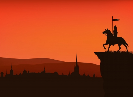 orange sunset: medieval times town sunset silhouette with a knight on the cliff Illustration