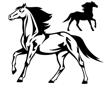 running: running horse black and white vector outline and silhouette