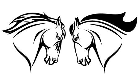 cabeza de caballo: cabeza de caballo vector de diseño - esquema blanco y negro