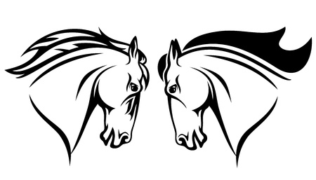 mustang horse: horse head vector design - black and white outline Illustration