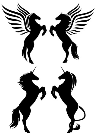 rearing up fantasy horses silhouettes - pegasus and unicorns Vector
