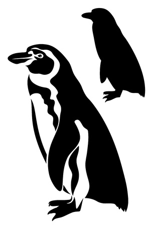 antarctic: cute penguin vector illustration - black outline and silhouette over white