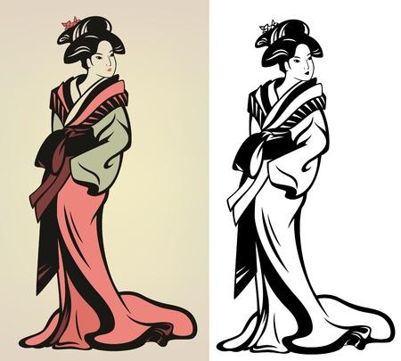 xilografia: ilustración tradicional geisha japonés - en color y blanco y negro