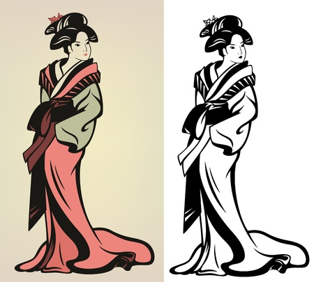 traditional japanese geisha  illustration - in color and monochrome Çizim