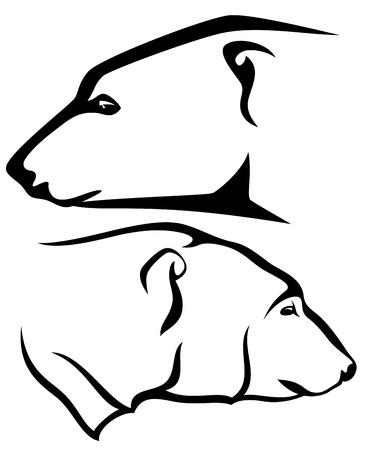polar bear head profile - black and white vector outline