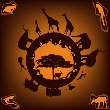 zeměkoule: African Wildlife design - zvířata uvedená Ilustrace