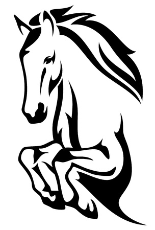 domestic horses: jumping horse black and white vector outline