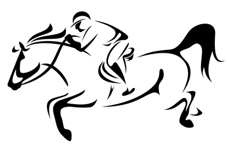horse riding black and white vector design Ilustracja