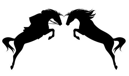 Springpferd feine Silhouette - schwarzer Umriss mit Jockey Standard-Bild - 21420911