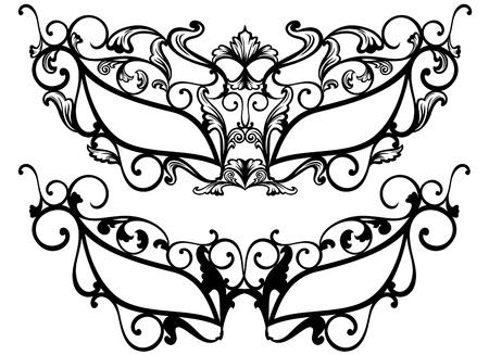 masquerade mask: ornate carnival masks outline - black over white