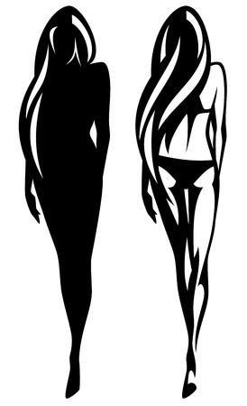 mooi slank meisje overzicht en silhouet Stock Illustratie