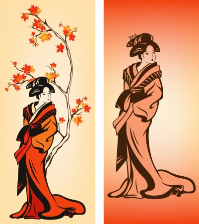 japanese maple: Autumn season japanese geisha colorful vector decorative elements
