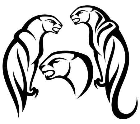 cougar: panther tribal vector design - black and white outline Illustration