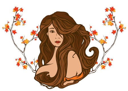art nouveau design:  art nouveau style autumn beauty portrait among bright foliage